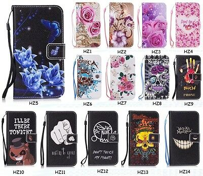 Fashion Patterned Flip PU Leather Kickstand Card Pocket Case Cover For Samsung