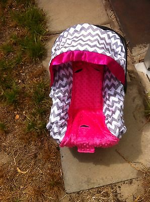 Chevron Minky Pink Minky Dot Baby Capsule Car Seat Cover