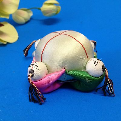Vintage, Pre-Loved - Small Satin Silk Domed Pincushion - 4 Chinese Children