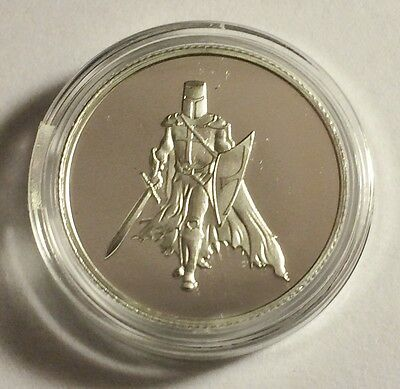 "New 2014 ""TEMPLAR KNIGHT"" 1/10th OZ 999.0 Pure Silver Proof Coin (a)"