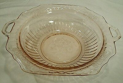 "1931-37 Anchor Hocking Mayfair Open Rose Pink Depression 11 & 3/4"" Handled Bowl"