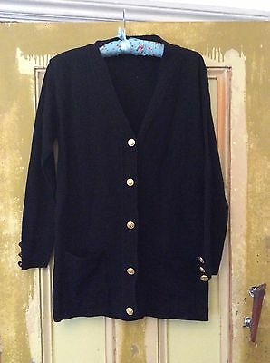 Vintage Black Cardigan With Gold Anchor Buttons Size 8-10