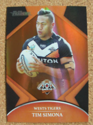2016 Nrl Traders Parallel Trading Card - Tim Simona/tigers