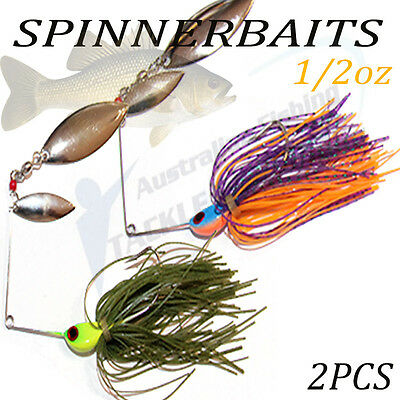2x Double Blade Spinnerbaits Spinner Bait Fishing Lures Buzzbait COD BASS BARRA
