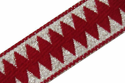 Embroidered Indian Prom Dress Border 1 YD Trim Red Trim Craft Lace COLLECTIBLE
