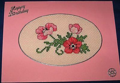Birthday Card Completed Cross Stitch Anemone 8x6""