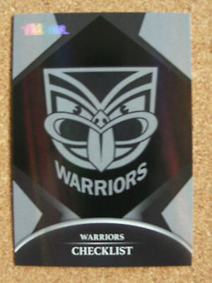 2016 Nrl Traders Parallel Trading Card - Warriors Checklist