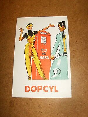 RARE ancien buvard 50's - DOPCYL / HAFA essence mélange 2 temps - VESPA , PIN UP