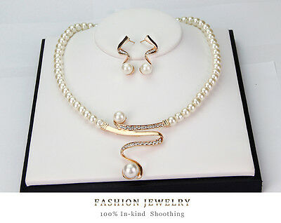Fashion Jewelry Gift Wedding Gold Plated Crystal&Pearl Necklace Earrings Set