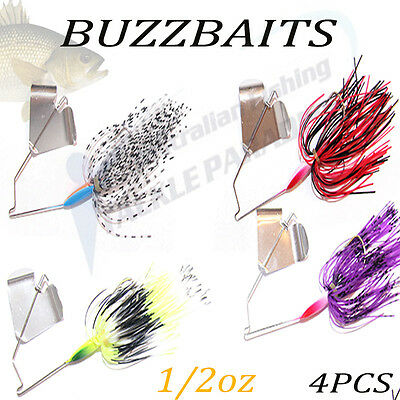 4x 1/2oz Buzzbait Buzz Baits Fishing Lure Spinnerbaits Spinner Spinners Bass 1