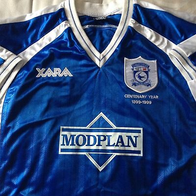 Cardiff City Bluebirds Centenary 1999-2000 Football Shirt New Mint Size XXL