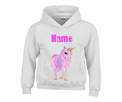 Personalised Pink Unicorn Horse Hooded Top Hoody Any Name Ideal Gift For Girls