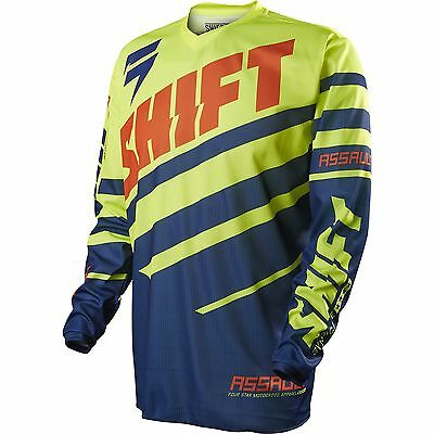 NEW Shift Mx Gear Assault Race Navy Yellow XXL Motocross Jersey SALE Size 2XL