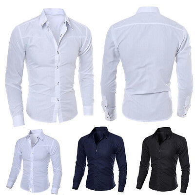 Men's Luxury Casual Formal Shirt Long Sleeve Slim Fit Business Dress Shirts TOP