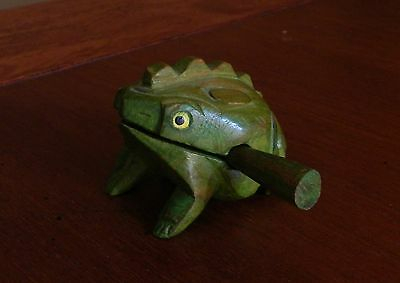 Thai Wooden Frog Hand Carved Croaking Wooden Percussion Sound Frog