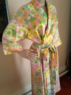 Vintage 1970s Floral Print Full Length Bath Robe Dressing Gown Size 12-14