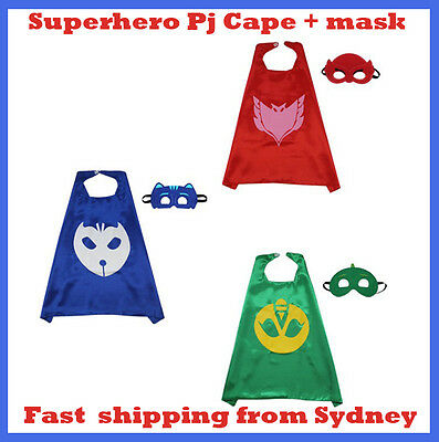 Superhero PJ Masks Cape & Mask Costume Kids Girl Boy Set Gekko Owlette Catboy