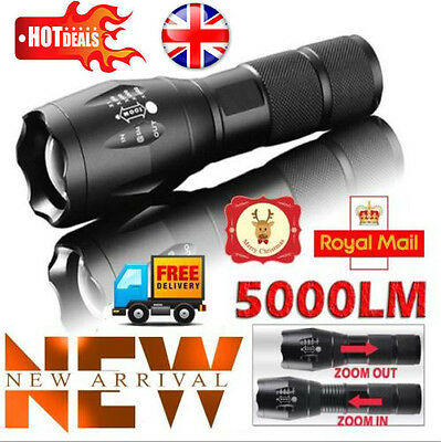 5000LM Tactical T6 Zoomable LED Flashlight Rechargeable Adjustable Torch Lamp UK