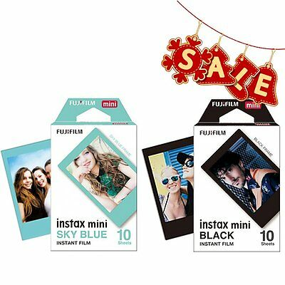 Fujifilm Instax Mini Black & Sky Blue Film for Fuji Mini 8 Plus 25 70 90 SP-1