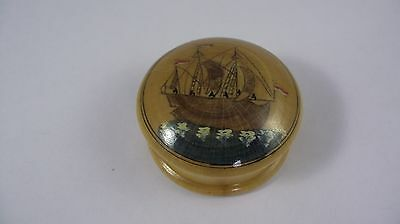 Wooden jewellery trinket box with tall ship design