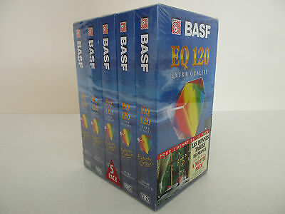 Lot X5 Cassette Vhs Basf Eq Extra Quality 120 - Neuf New Sealed