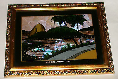 Lovely Art Deco Butterfly Wing Picture Rio De Janeiro