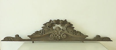 Antique French Carved Wooden Pediment Decorative Mount Garland Of Roses Fronton