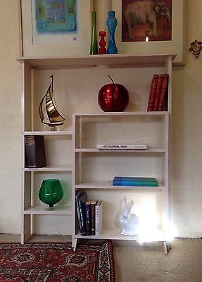 Vintage Retro Mid-Century Solid Timber Stepped Bookshelves.