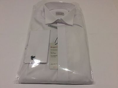 Mens White Wing Plain Formal Dinner Wedding Tuxedo Dress Shirt Size M-40 (Mark)
