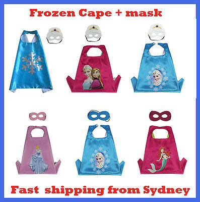 Superhero Girl Cape & Mask Frozen Princess Elsa Anna Mermaid Cinderella Costume