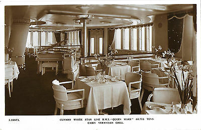 RP Card R.M.S. QUEEN MARY CABIN VERANDAH GRILL - Bridge House Card – Unposted