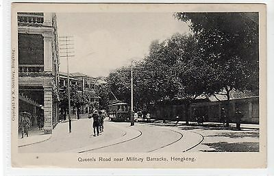 QUEEN'S ROAD NEAR MILITARY BARACKS: Hong Kong postcard with tram (C21635)