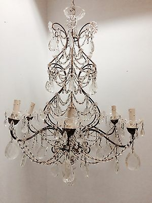 SALE Large Antique Macaroni Beaded Chandelier Italian French, Wood Gilt