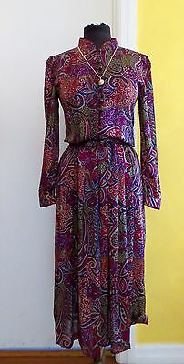 Vintage 80'S Purple And Red Paisley High Neckline Corporate Dress. Size 10-12