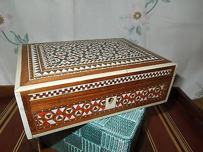Wooden Box with Inlaid Mosaic Work.  Hinged Lid.