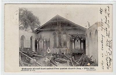 COLLAPSE OF EAST UNITED FREE PARISH CHURCH, ROTHESAY: Bute postcard (C21819)