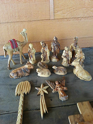 Olive Wood Nativity Set- made in Israel --needs assembly--used--AS IS