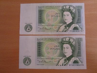 2 Unc £1 Notes D H F Somerset