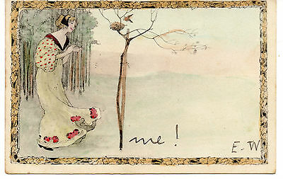 Art Nouveau. U/b. M M Vienne:beautiful Lady Sees Bird Return To Nest Posted 1904
