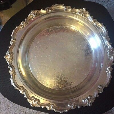 """Vintage Silverplate Footed Pie Serving Tray with Pyrex 10"""" Pie Pan  ~  Bristol"""