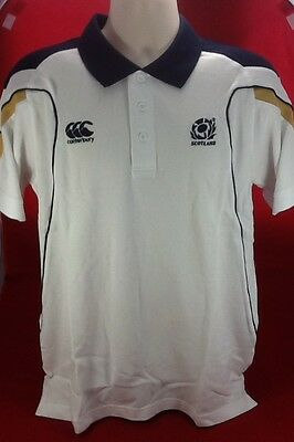 Canterbury Rugby Scotland Cut & Sew White Cotton Polo - Size Large