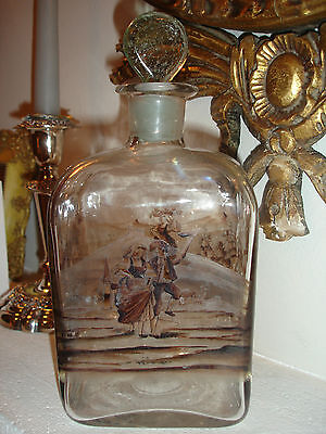 19c Continental Enamelled Glass Spirit Flask / Decanter, Bulls Eye Stopper