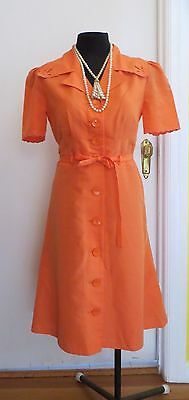 Vintage 70's French Label Orange Shirtmaker Button Down Dress. Size 42-46