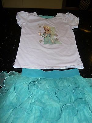 Frozen turquoise tutu skirt and motif top