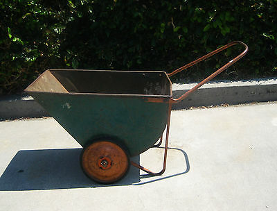 Vintage Garden Cart Wheelbarrow Chippy Green Orange Metal Planter LOCAL PICK-UP