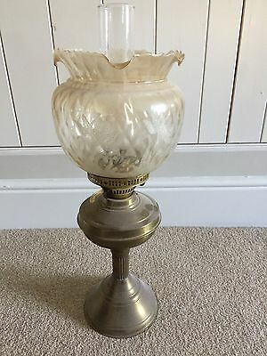 Antique Victorian Solid Brass And Etched Glass Oil Lamp