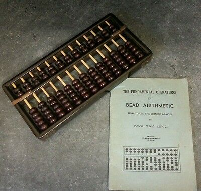 Vintage Chinese Abacus with Instruction Book KWA TAK MING