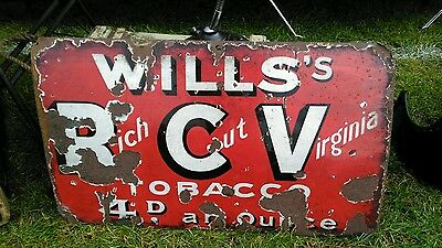 Vintage Wills's tobacco enamel sign in red