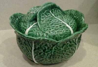 Vintage green cabbage soup tureen Portugal Secla