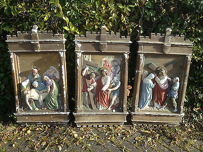 x3 19thC WELSH CHAPEL CHURCH Plaster Plaque Station of the Cross Religious